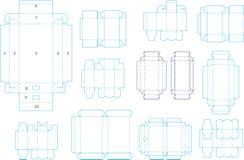 Coleção 04 eps do molde da caixa ilustração do vetor