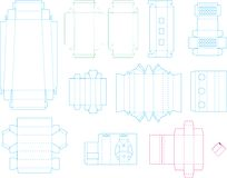 Coleção 07 eps do molde da caixa ilustração do vetor