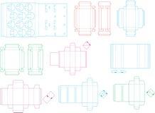 Coleção 08 eps do molde da caixa ilustração royalty free