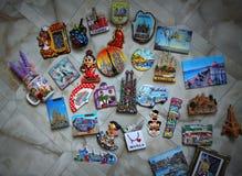 Coleção espanhola dos ímãs das cidades fotografia de stock royalty free