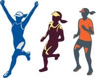 Coleção fêmea do corredor de maratona de Triathlete ilustração royalty free
