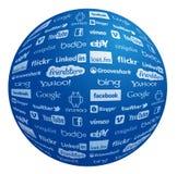Coleção famosa do logotipo no globo Imagem de Stock Royalty Free