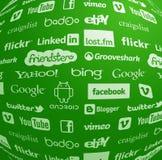 Coleção famosa do logotipo no globo Imagens de Stock