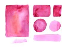 Coleção feito a mão da textura da aquarela da pintura cor-de-rosa Foto de Stock