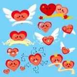 Coleção feliz do coração Fotografia de Stock