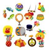 Coleção feliz dos ícones da mostra do circo dos desenhos animados Fotos de Stock Royalty Free