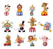 Coleção feliz dos ícones da mostra do circo dos desenhos animados Fotografia de Stock Royalty Free