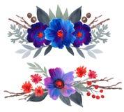 Coleção floral da aquarela com folhas e flores Fotos de Stock Royalty Free