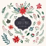 Coleção floral dos elementos do Natal Fotografia de Stock Royalty Free
