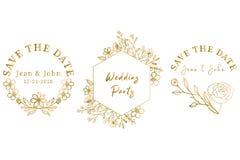 Coleção floral dourada tirada mão do casamento ilustração stock