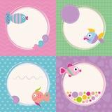 Coleção funky dos cartões dos peixes dos desenhos animados Fotografia de Stock