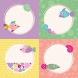 Coleção funky dos cartões dos peixes dos desenhos animados Imagem de Stock Royalty Free