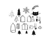 A coleção gráfica a mão livre áspera tirada mão dos elementos do projeto do cumprimento do Feliz Natal do vetor ajustou-se com es ilustração royalty free