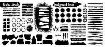 Coleção grande da pintura preta, cursos da escova da tinta, escovas, linhas, sujas Elementos artísticos sujos do projeto, caixas, ilustração do vetor