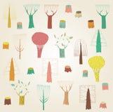 Coleção grande das árvores do Grunge nas cores, com texturas, em g bege Imagens de Stock