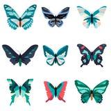 Coleção grande de borboletas coloridas Isolado no branco Foto de Stock Royalty Free