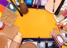Coleção grande de cosméticos diferentes da composição foto de stock royalty free