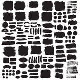 Coleção grande de cursos de tinta preta da escova Imagens de Stock Royalty Free