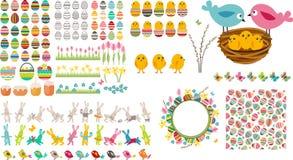 Coleção grande de easter com ovos, pássaros e coelhos ilustração do vetor