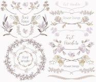 Coleção grande de elementos do design floral, divisores, quadros Fotografia de Stock Royalty Free