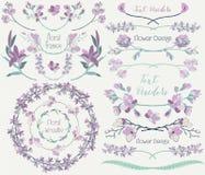 Coleção grande de elementos do design floral, divisores, quadros Imagens de Stock Royalty Free