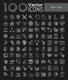 Coleção grande de 100 pictograma criativos na linha estilo fina Imagens de Stock Royalty Free