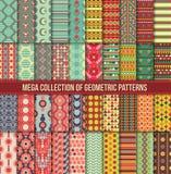 Coleção grande de testes padrões retros coloridos sem emenda fotos de stock