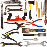 Coleção grande do tamanho de várias ferramentas usadas Foto de Stock Royalty Free