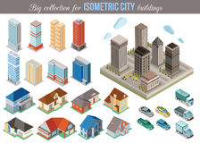 Coleção grande para construções isométricas da cidade jogo Imagem de Stock