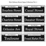 Coleção histórica dos sinais de rua de Nova Orleães Imagem de Stock