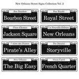 Coleção histórica dos sinais de rua de Nova Orleães Fotografia de Stock Royalty Free