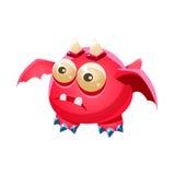 Coleção imaginária do monstro de Dragon With Two Horns Fantasy do animal de estimação amigável fantástico cor-de-rosa Imagem de Stock