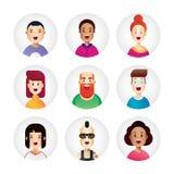 Coleção impressionante do avatar dos povos no estilo liso novo do projeto Os ícones do negócio para a Web, o app e a cópia projet Fotos de Stock