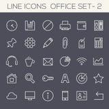 Coleção Inline dos ícones do escritório Fotografia de Stock Royalty Free