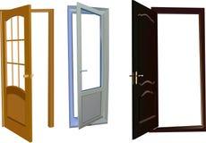 Coleção isolada de três portas ilustração stock