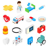 Coleção isométrica médica dos símbolos 3d Fotografia de Stock Royalty Free