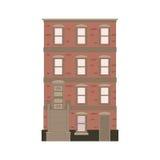 Coleção linear detalhada bonita da arquitetura da cidade com condomínios Rua da cidade pequena com as fachadas da construção do v Fotografia de Stock
