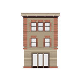 Coleção linear detalhada bonita da arquitetura da cidade com condomínios Rua da cidade pequena com as fachadas da construção do v Fotos de Stock Royalty Free