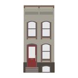 Coleção linear detalhada bonita da arquitetura da cidade com condomínios Rua da cidade pequena com as fachadas da construção do v Imagens de Stock Royalty Free