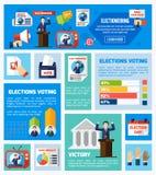Coleção lisa das eleições e da votação ilustração stock