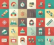Coleção lisa do ícone da atividade do inverno Imagem de Stock Royalty Free