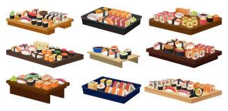 Coleção lisa do vetor das placas com rolos de sushi Alimento asiático tradicional Culinária japonesa ilustração royalty free