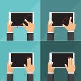 Coleção lisa do vetor das tabuletas com as mãos que guardam e a tela tocante Imagem de Stock