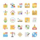 Coleção lisa dos ícones da entrega logística ilustração royalty free