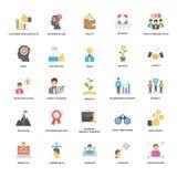 Coleção lisa dos ícones do vetor do sucesso e das oportunidades Fotografia de Stock