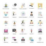 Coleção lisa dos ícones do vetor do sucesso e das oportunidades Imagem de Stock Royalty Free