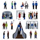 Coleção lisa dos ícones dos passageiros do metro ilustração stock