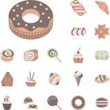 Coleção lisa dos ícones para confeitos Imagens de Stock Royalty Free