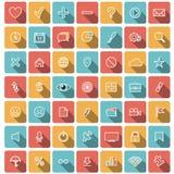 Coleção lisa moderna dos ícones Fotografia de Stock Royalty Free