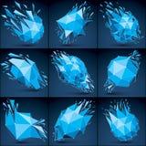 Coleção luminescente dos objetos do wireframe dimensional do vetor com ilustração stock